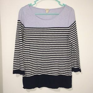 JCrew Stripe Quarter Sleeve Tee